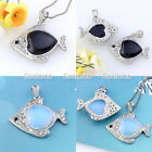 1pc Crystal Metal Fish Love Heart Gemstone Divination Reiki Pendant Fit Necklace