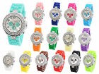 Geneva Watch Silicone Crystal Rhinestone Bling Quartz Ladies Women Jelly  Wrist