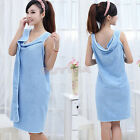 Unisex Microfiber Bath Towels Solid Floppy Bathrobes Bath Skirt Beach Dress Ukjb