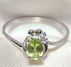 Genuine Faceted Oval Green Peridot .925 Sterling Silver Ring -- PD866