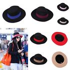 Fashion Womens Mens Unisex Wide Brim Panama Hat Trilby Fedora Gangster Cap New