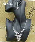 1Set New Luxury Shiny Crystal Clear Grace bridal wedding Party Necklace&Earrings
