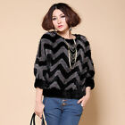 Women's Real Mink Fur Knitted Jacket Pullover Coat