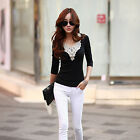 Women New Fashion Long Sleeve Lace Floral V Neck Solid Body Con Under T-Shirt