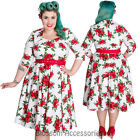 RKP37 Hell Bunny 50's Eternity Rockabilly Floral Vintage Pin Up Plus White Dress