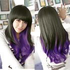 Women's Lady Long Curly/Straight Full Wig Hair Black+Purple Cosplay Anime Party