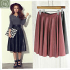 Women Vintage Korean Style High Waist Pleated PU Leather Skirts Expansion Skirt