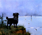 AWAITING THE MASTER'S RETURN SMALL DOG FRENCH PAINTING BY LOUISE ABBEMA REPRO