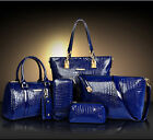 Valentine's Day Gift 6pcs Women's Ladies Leather Handbag Crocodile Purse Bag
