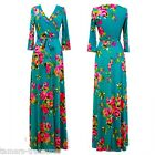 JADE Garden FLORAL Beautiful MAXI DRESS Jersey Wrap LONG Skirt vtg BOHO S-M-L