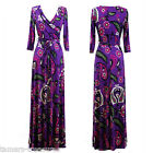 PURPLE FLORAL Paisley Beautiful MAXI DRESS Jersey Wrap LONG Skirt vtg BOHO S-M-L