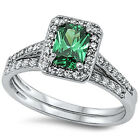 925 Sterling Silver Emerald Cut Green Clear CZ Wedding 2in1 Set Ring Size 3-11
