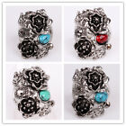Women Mens Tibetan Silver Turquoise Flower Ring Jewelry In 2 Size 3 Colors