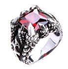 Size 9 Men's Silver Plated Black Dragon Claw Red Ruby Like Biker Man Ring M9