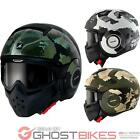 Shark Raw Kurtz Motorcycle Helmet Open Face Goggles Mask Street Urban Motorbike
