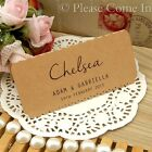 Personalised Kraft Scalloped Lace Rustic Wedding Place Cards/Escort Cards