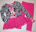MINNIE MOUSE Toddler Girls 2T 3T 4T Tunic Set OUTFIT Shirt Pants Leggings Disney