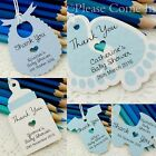 Blue Personalised Baby Shower Christening Favour Tags/Thank You Tags/ Gift Tags