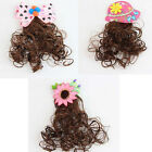 1 Pc Bow Hat Flower Wavy Wigs Hair Clips Hairpiece Baby Girl Kid Cute Gift