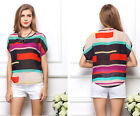 Fashion Women Casual Chiffon Tops Batwing Sleeve Loose Shirt Blouse Color Stripe