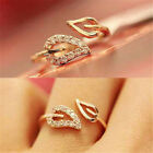 Crazy cheap Nice Girls Rhinestone Leaf Shape Finger Ring US Size 6 Jewelry Gift