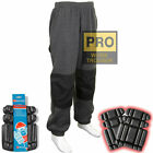Mens Cuffed Knee Pad Pocket Jogging Bottoms Trousers Work Pants - Free Knee Pads
