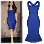 Hot Sexy Womens Slim Flounced Clubwear Stretch Evening Party Cocktail Dress Blue