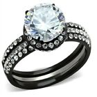 New AAA Cubic Zirconia Stainless Steel Black 2-Piece Wedding Ring Set Sizes 5-10