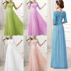 HOT SALE Long Bridesmaid Formal Lace+Chiffon Gowns Ball Party Evening Prom Dress