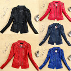 NEW Trendy Women's Short Slim Motorcycle Faux Leather Coats Punk Diamond Jackets