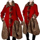 PATCHWORK WOLLE WINTERMANTEL LAGENLOOK MANTEL TRENCH COAT 44 46 48 50 ROT XL XXL