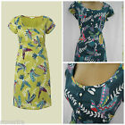 WHITE STUFF DRESS FLYING PARROTS BIRD SHIFT TUNIC LIME TEAL GREEN PURPLE 8 - 18