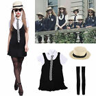 St Trinians Emo School Girl Uniform Hen Party Complete Costume Outfit Hat