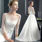 NEW 3/4 Sleeve Lace White Wedding Dresses Bridal Gown Small Train Dress Y275F