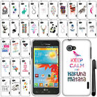 For LG Enact VS890 Art Design PATTERN HARD Case Phone Cover + Pen