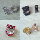 Fashion Charm Shiny 3Row Crystal Rhinestone Color Elastic Ring Wedding Jewelry
