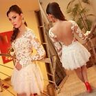 White HOT Sexy Women Lace Hollow Embroidery Evening Party Wedding Dress S M L XL