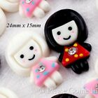 Kawaii Flat Back Resin Doll in Black/White Hair Cabochon Decoden