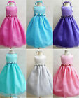 Cute Fuchsia purple turquoise pool blue silver black organza flower girl dress