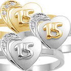 925 Sterling Silver Quinceanera 15th Birthday Heart Love Clear CZ Ring Size 3-11