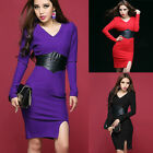 3 Color Sexy Lady Long Sleeve Cocktail Evening Prom Party Short Plus Size Dress