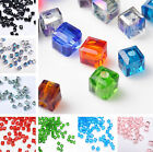 100pcs 4mm Glass Crystal Charms Cube Square Loose Spacer Beads Jewelry Findings