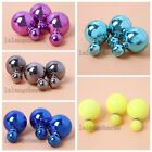 4/20pcs Hot Selling UV Plated ABS Studs Earrings Fashion Jewelry 4 Colors LC