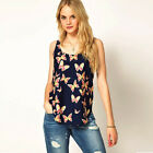 Womens Summer Casual Butterfly Chiffon Vest Tops Tank Sleeveless Shirt Blouse