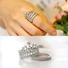 2pcs/Set  Rhinestone Crown Wedding Queen Band Silver Plated White Crystal Rings