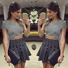 Women Sexy Cropped Top and Skirt Lady Clothing set Two-piece dress Bodycon Mini