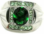 Men's 7.2ctw Emerald & Peridot Stainless Steel Ring     * EXCLUSIVE *