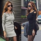 Chic Women's Long Sleeve off Shoulder Party Knit Sweater Slim Bodycon Mini Dress