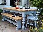 6ft Solid Farmhouse Kitchen Dining Set Table Chairs Bench Painted COLOUR OPTIONS