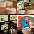 Display Note Postcard Place Card Designer Memo Clip Wire Wood Paper Holder